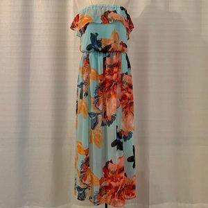 • Bisou Bisou • floral off shoulder maxi dress
